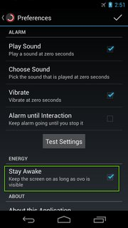 Preferences: Stay Awake